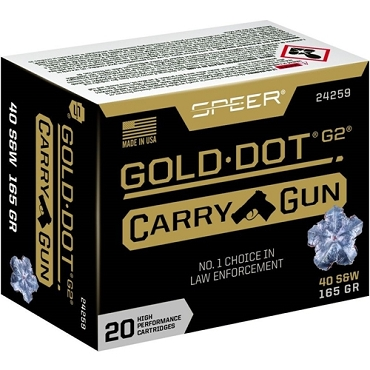 24259 - Speer Gold Dot G2 Carry Gun 40 S&W 165 Grain Jacketed Hollow Point (20 Rounds)