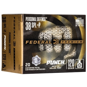 PD38P1 - Federal Punch 38 Special Ammo 120 Grain +P Jacketed Hollow Point (20 Rounds)