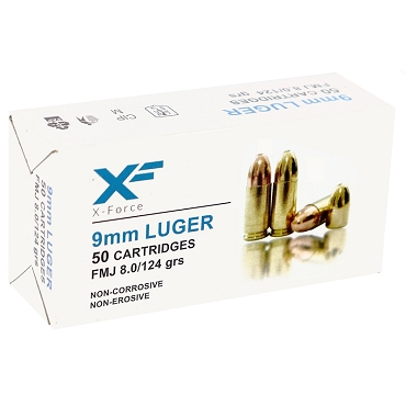 SM9115 - Sumbro X-Force 9mm Luger Ammo 124 Grain FMJ (50 Rounds)