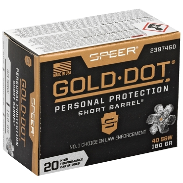 Speer Gold Dot Short Barrel 40 S&W Ammo 180 Grain Jacketed Hollow Point (20 Rounds)