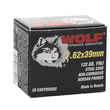 762WFMJ - Wolf Performance 7.62x39mm 122 Grain FMJ Steel Case (20rds)