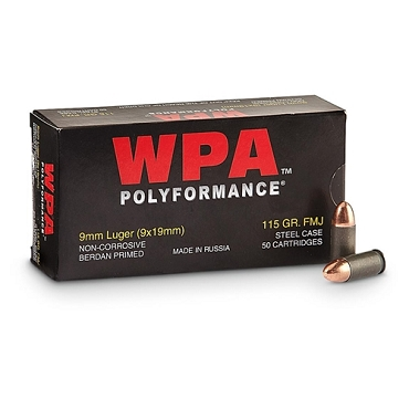 P919FMJ - Wolf Polyformance 9mm 115 Grain FMJ Steel Case (50 Rounds)