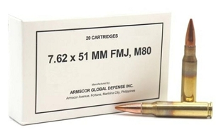ARMSCOR 7.62X51MM M80 147 GRAIN FULL METAL JACKET (20 Rounds)