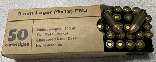 Barnaul 9mm 115 Grain FMJ Steel Polycoated Case (50 Rounds)