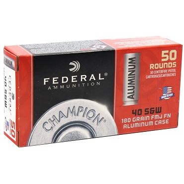 CAL40180 - Federal Champion 40 S&W Ammo 180 Grain Aluminum Case FMJ (50 Rounds)