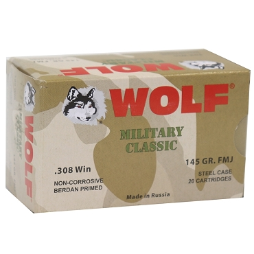Wolf Military Classic 308 Winchester 145 Grain FMJ Steel Case (20 Rounds)