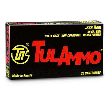 TA223550 - TulAmmo 223 Remington 55 Grain FMJ Steel Case (20 Rounds)