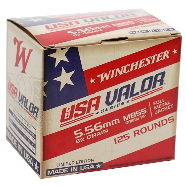 Winchester USA Valor 5.56x45mm NATO 62 Grain M855 FMJ Green Tip 125 Rounds Value Pack (125 Rounds)