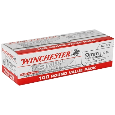 USA9MMVP - Winchester USA 9mm Luger 115 Grain FMJ 100 Rounds Value Pack (100 Rounds)