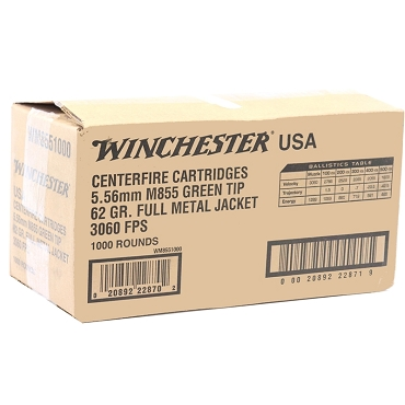 Winchester USA 5.56mm M855 NATO 62 Grain Green Tip FMJ Bulk Pack (1000 Rounds)