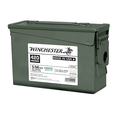 Winchester 5.56mm M855 NATO 62 Grain Green Tip FMJ (420 Round Ammo Can Stripper Clips)